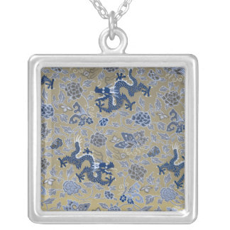 Blue Dragons and Flowers on Dull Gold Jewelry