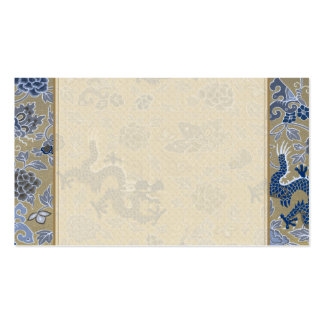 Blue Dragons and Flowers on Dull Gold Pack Of Standard Business Cards
