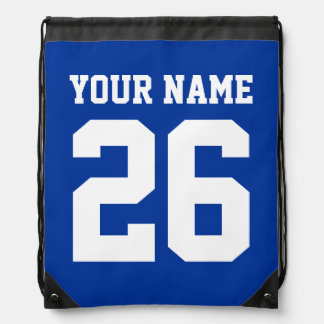 Blue drawstring bag | Personalized jersey number