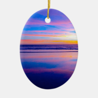 Blue Dream Sunset Santa Monica Ceramic Oval Decoration