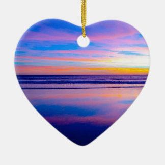 Blue Dream Sunset Santa Monica Ceramic Heart Decoration
