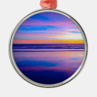 Blue Dream Sunset Santa Monica Silver-Colored Round Decoration