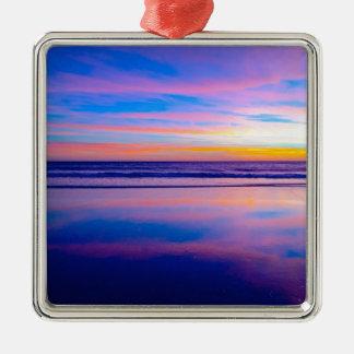 Blue Dream Sunset Santa Monica Silver-Colored Square Decoration