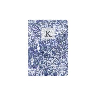 Blue dreamcatcher feathers floral illustration passport holder
