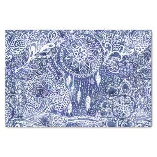Blue dreamcatcher feathers floral illustration tissue paper