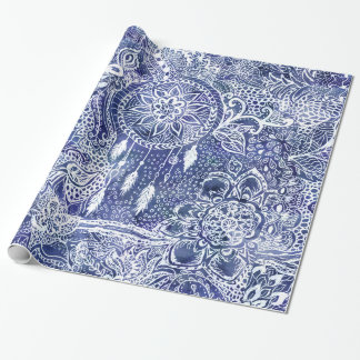 Blue dreamcatcher feathers floral illustration wrapping paper