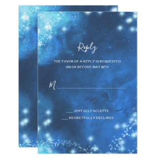Blue Dreams Abstract Galaxy Wedding RSVP Card
