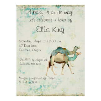 Blue Dreamy Camels Baby Invitation