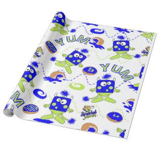 Blue Dreidel Monsters for Hannukah Wrapping Paper
