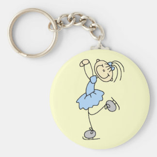 Blue Dress Figure Skater t-shirts and Gifts Basic Round Button Key Ring