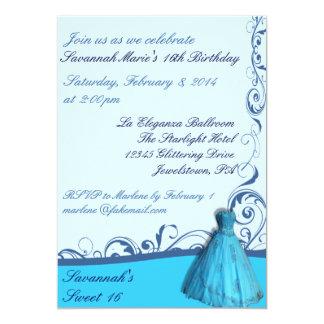 Blue Dress Sweet Sixteen Birthday Invitations