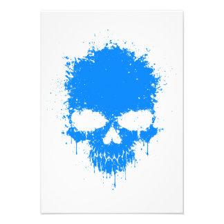 Blue Dripping Splatter Skull Custom Announcements