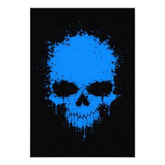 Blue Dripping Splatter Skull Personalized Invitations