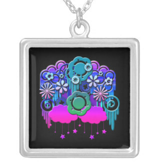 Blue Drips Square Pendant Necklace