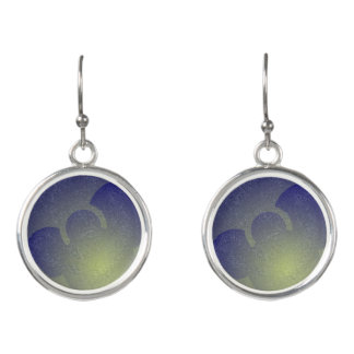 Blue Droplet Circular Drop Earrings