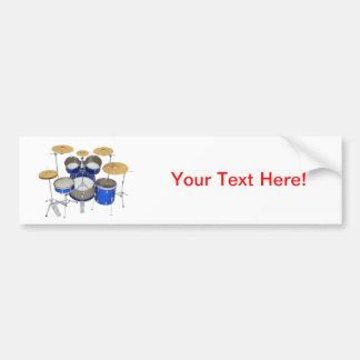 Blue Drum Kit Bumper Sticker