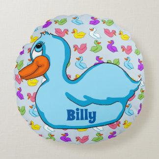 Blue Duck Round Pillow