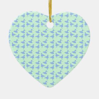Blue ducks ceramic heart decoration