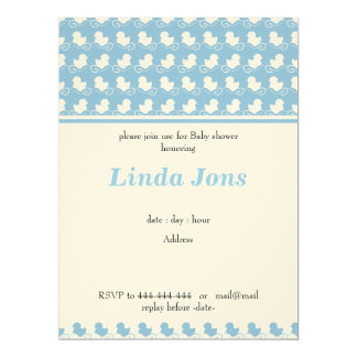 blue ducks in row baby shower invitation