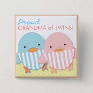 Blue Ducky Twin Boy & Girl Proud Grandma Pin