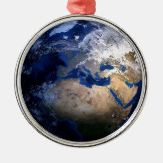 Blue Earth From Space  Inspirational Globe World Christmas Ornament