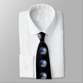 Blue Earth From Space  Inspirational Globe World Tie