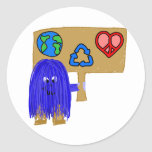 blue earth love peace recycle round sticker