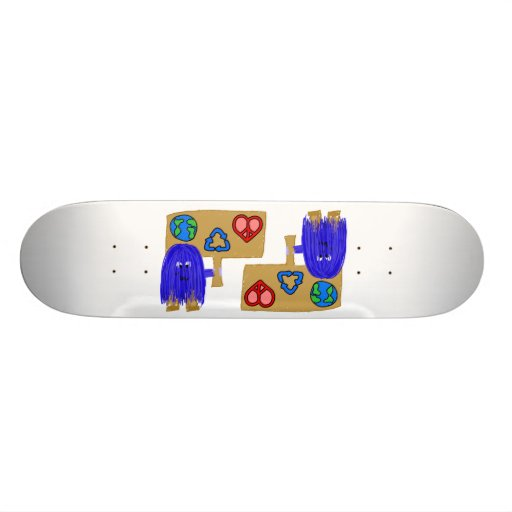 blue earth love peace recycle skateboard decks