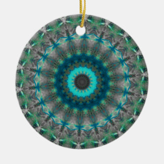 Blue Earth Mandala Kaleidoscope pattern Christmas Ornament