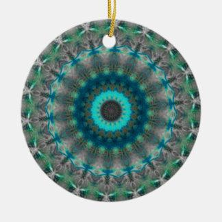 Blue Earth Mandala Kaleidoscope pattern Round Ceramic Decoration
