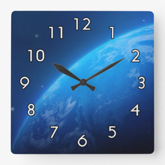 Blue Earth Square Wall Clock