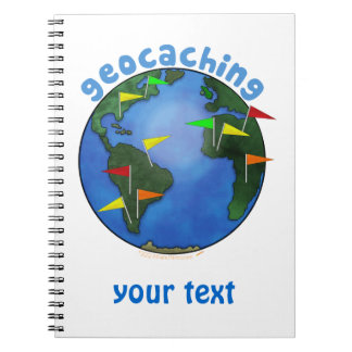 Blue Earth With Flags Geocaching Custom Spiral Notebook