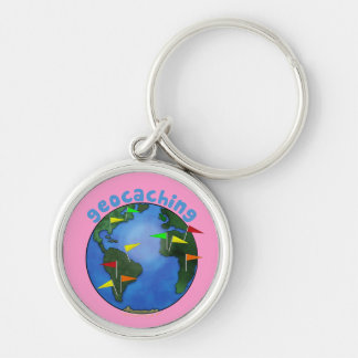 Blue Earth With Flags Geocaching Swag Custom Silver-Colored Round Key Ring