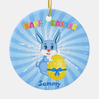 Blue Easter Bunny Cartoon Christmas Ornament
