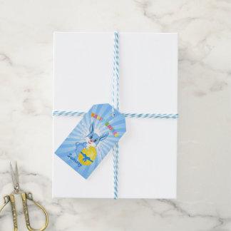 Blue Easter Bunny Cartoon Gift Tags