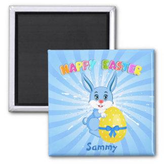 Blue Easter Bunny Cartoon Magnet