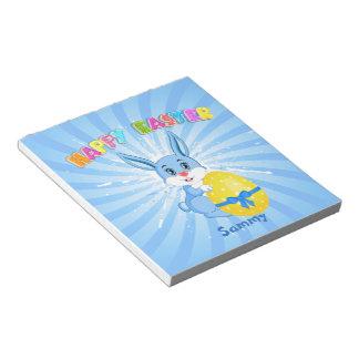 Blue Easter Bunny Cartoon Notepad