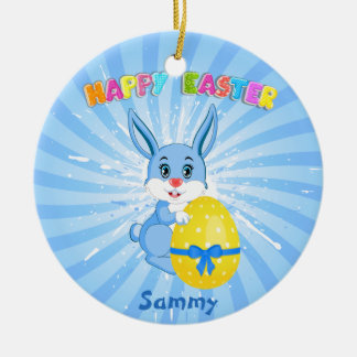 Blue Easter Bunny Cartoon Round Ceramic Decoration