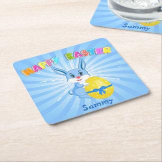 Blue Easter Bunny Cartoon Square Paper Coaster