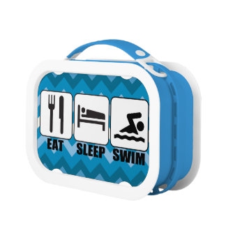 "Blue ""Eat Sleep Swim"" Funny Novelty Swimmer's Lunch Box"