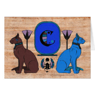 Blue Egyptian Cat Monogram Greeting Card: C Card