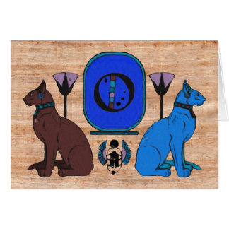 Blue Egyptian Cat Monogram Greeting Card: O Card