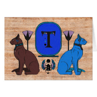 Blue Egyptian Cat Monogram Greeting Card: T Card