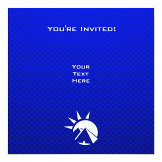 "Blue Egyptian Pyramid 5.25"" Square Invitation Card"