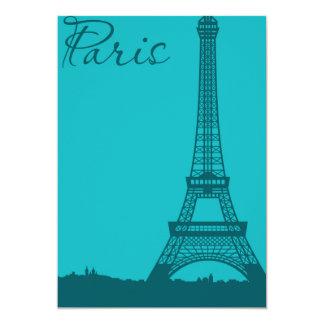 Blue Eifel Tower 13 Cm X 18 Cm Invitation Card