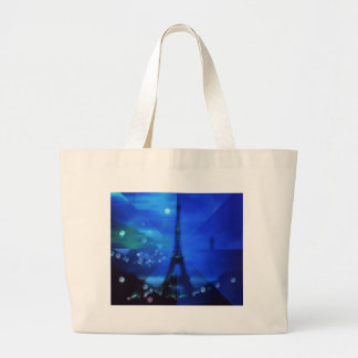 Blue Eiffel tower Illusion Tote Bags