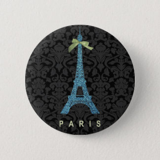 Blue Eiffel Tower in faux glitter 6 Cm Round Badge