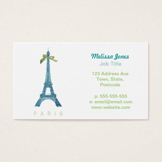 Blue Eiffel Tower in faux glitter Business Card