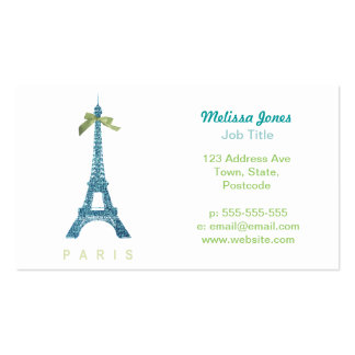 Blue Eiffel Tower in faux glitter Business Card Templates