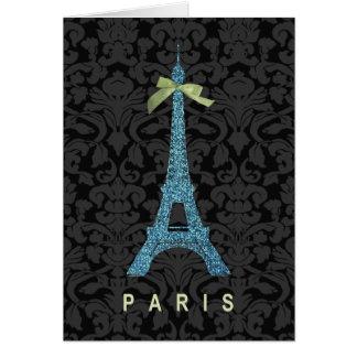 Blue Eiffel Tower in faux glitter Card